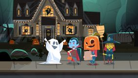 Kids Wearing Monsters Costumes Walking In Town Tricks Or Treat Happy Halloween Banner Holiday Concept. Vector Illustration royalty free illustration