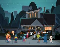 Kids Wearing Monsters Costumes Walking In Town Tricks Or Treat Happy Halloween Banner Holiday Concept. Vector Illustration vector illustration
