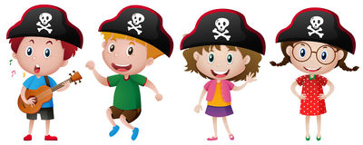 Kids wearing pirate hat Royalty Free Stock Images