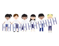 Free Kids Wearing White And Blue Pants Or Skirts, Standing And Holding Hands And Israeli Flag Bunting Royalty Free Stock Photo - 214217835