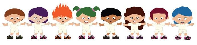 8 kids wearing white uniform. EPS10 available royalty free illustration