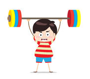 Kids weightlifting Stock Photo