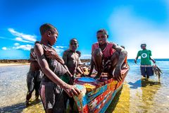 Kids. This kids were young fishermen on the island of Bazzaruto in Mozambique royalty free stock image