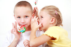 Kids whispering Stock Photos