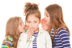 Kids whispering bad news Stock Photography