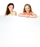Kids with white banner Royalty Free Stock Image