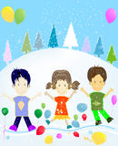 Kids and winter Stock Images