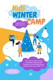 Kids Winter Camp Banner Flat Vector Illustration. On Ice People Ride Around Tree. Girl Dressed in Hat from Cold Clothes Skates Slides on Ice. Winter Holidays vector illustration