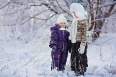 Kids in winter Royalty Free Stock Image