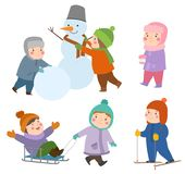 Kids winter Christmas games playground children playing sport games of kinds snowball, skating, kiddy holidays playtime Royalty Free Stock Photos