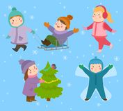 Kids winter Christmas games playground children playing sport games of kinds snowball, skating, kiddy holidays playtime Stock Photos
