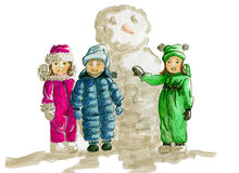 Kids Winter Fashion Sketch Stock Image
