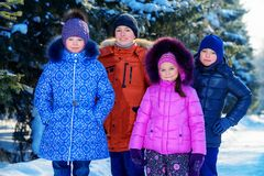 Kids in winter forest stock photo