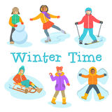 Kids winter outdoor games and activities cartoon Royalty Free Stock Photography