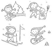 Kids winter outdoors activities. Happy kids winter outdoors activities Stock Photo