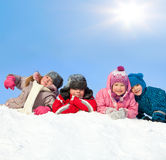 Kids in winter park stock images