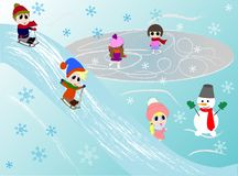 Kids winter playing. Skating, sledging, playing with snowman. vector illustration