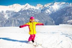 Kids winter snow sport. Children ski. Family skiing. Royalty Free Stock Photo