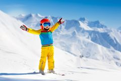 Kids winter snow sport. Children ski. Family skiing. Royalty Free Stock Photography