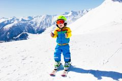 Kids winter snow sport. Children ski. Family skiing. Royalty Free Stock Image