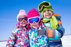 Kids in wintertime Stock Images