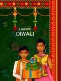 Kids wishing Diwali background with message meaning Happy Deepawali. Easy to edit vector illustration of kids wishing Diwali background with message meaning royalty free illustration