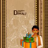 Kids wishing Diwali background with message meaning Happy Deepawali. Easy to edit vector illustration of kids wishing Diwali background with message meaning vector illustration