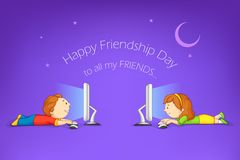 Kids wishing Happy Friendship Day Royalty Free Stock Image