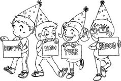 Kids Wishing Happy New Year. Sketch of kids wishing happy new year on white background Vector Illustration
