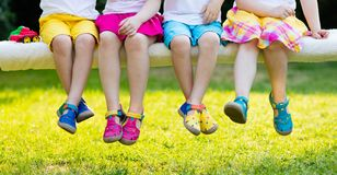 Kids With Colorful Shoes. Children Footwear Royalty Free Stock Image