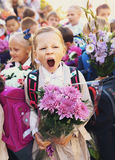 Kids With Flowers On First School Day In Moscow Royalty Free Stock Photo