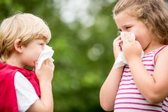 Free Kids With Hay Fever Sneezing Royalty Free Stock Photo - 100529335
