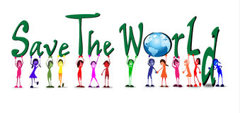 Kids With Word Of Save The World Stock Photo