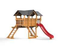 Kids wooden playhouse with red slide and black roof Stock Image