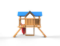 Kids wooden playhouse with red slide and blue roof - back view. Isolated on white background Royalty Free Stock Image