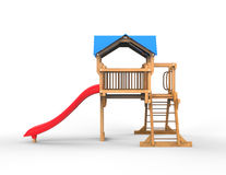 Kids wooden playhouse with red slide and blue roof - side view. Isolated on white background Royalty Free Stock Image