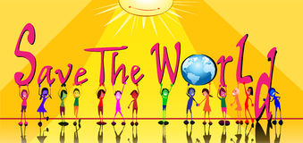 Kids with word of save the world. Young generation.Kids holding up the word save the world. Vector file Stock Image
