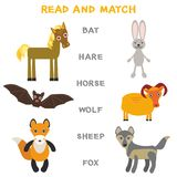 Kids words learning game worksheet read and match. Funny animals bat hare horse wolf sheep fox Educational Game for Preschool Chil. Dren Picture puzzle. Vector Stock Photos