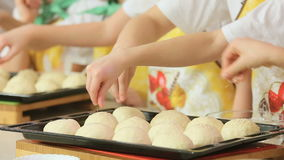 Kids work with dough stock video