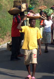 Kids at Work. Some kids selling fruits on the road near to Murchison Falls, Uganda Royalty Free Stock Photo