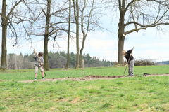 Kids working on the field Stock Photos