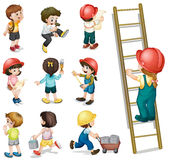 Kids working Stock Image