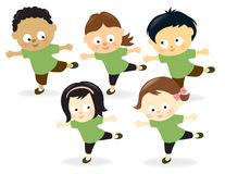Kids working out. Illustration of kids having fun while exercising Stock Images