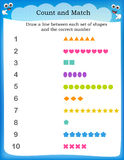 Kids worksheet count and match Stock Images