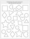 Kids worksheet match and color Stock Photo