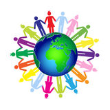 Kids and world. Colorful children and world.Vector illustration Stock Photography