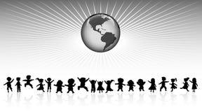 Kids and world Stock Photo