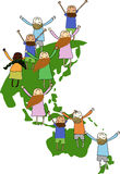 Kids at the World. Illustration of multi-cultural children symbolizing world unity and peace Stock Photography