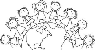 Kids world - children on globe. Kids world - group of children on globe illustration Stock Photos