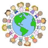 Kids world - children on globe. Kids world - group of children on globe illustration Stock Photography